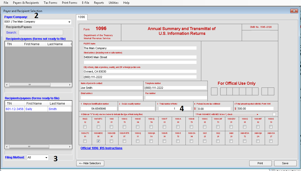 Creating Transmittal Forms W 3 Or 1096 Tax Software Web Support