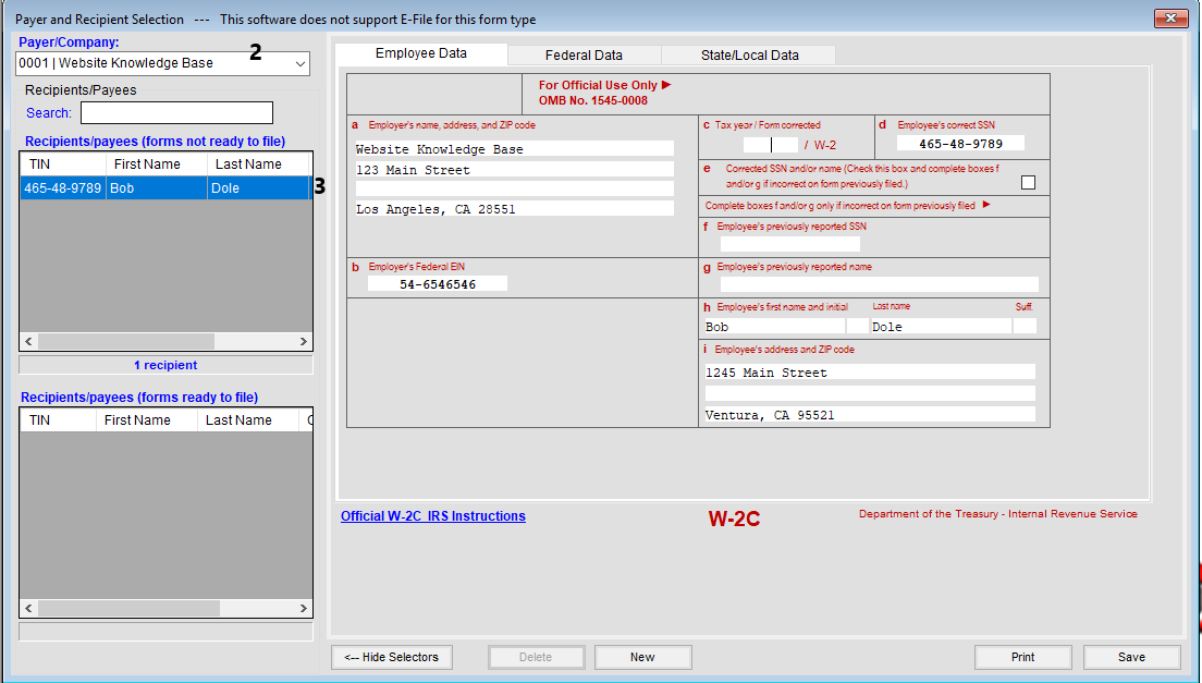 Creating A W 2c Or W 3c Tax Software Web Support Services